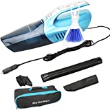 Reserwa Car Vacuum 12V 80W Wet Dry Car Vacuum Cleaner 2 in 1 Portable Car Vaccum Handheld Vacuum Car 14.7FT(4.5M) Power Cord with LED Light One Carry Bag and One Cleaning Brush (Blue)