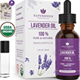 Naturenics Premium Lavender Essential Oil - 100% Undiluted Pure USDA Organic Therapeutic Grade- Promote Peaceful Sleep, Relaxation, Tension Relief- For Diffuser & Topical Use- Roll On Bottle & eBook