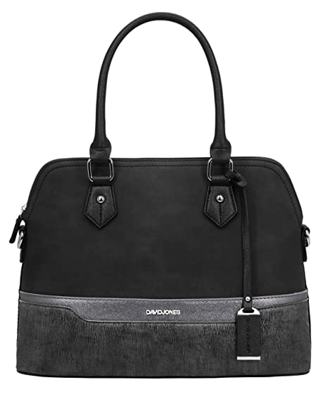 9a095af6eb1 David Jones - Women Top Handle Bag - Bugatti Bowling Tote Handbag - Nubuck  Paillette Glitter
