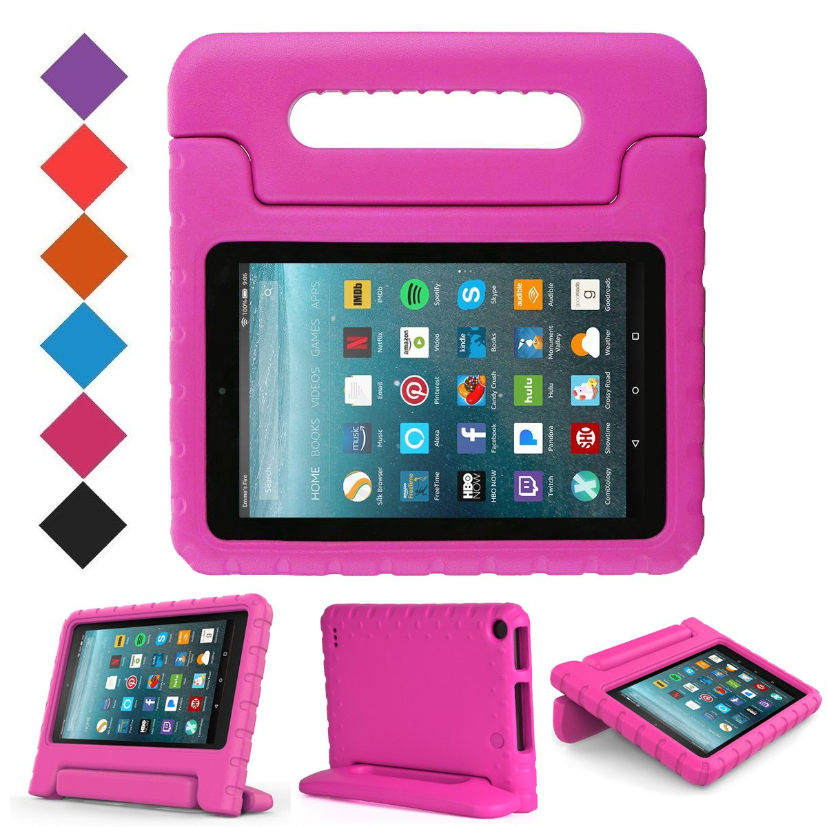 BMOUO Case for All New Amazon Fire 7 2017 - Light Weight Shock Proof Handle Kid-Proof Cover Kids Case for All New Fire 7 Tablet (7th Generation, 2017 Release), Rose