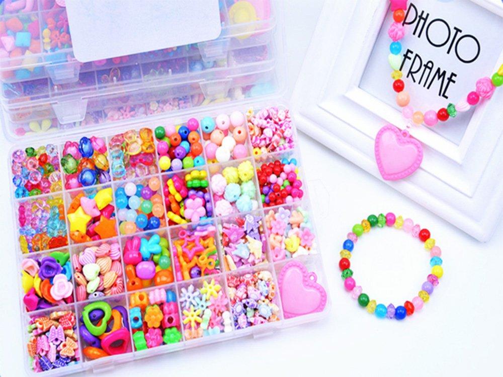 DIY Perlen Kinder Bunte Halskette und Armband Handwerk, Perlenschnur mit verschiedenen Arten und Formen Multi-Color Acryl Perlen Kinder Schmuck Hemore