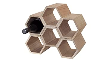 hexagon wooden wine rack 6 bottle kitchen tabletop countertop storage