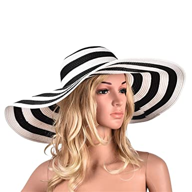 44ebd79a Image Unavailable. Image not available for. Color: Huge Brim Sun Hats 7.1''/18cm  Paper Straw Summer ...