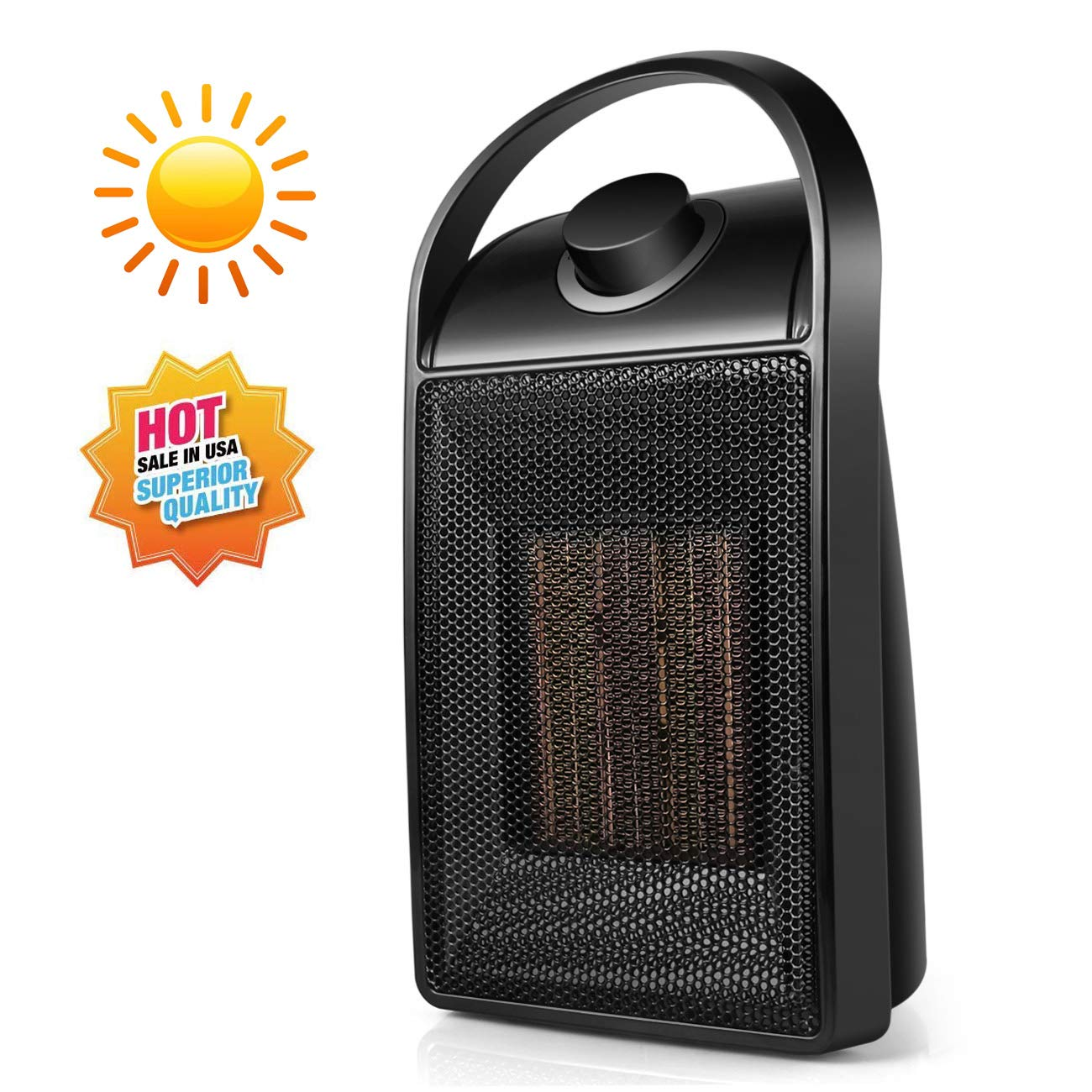 Space Heater, 1500 watt Personal ceramic portable mini heater desktop office home dorm, with adjustable thermostat- Black