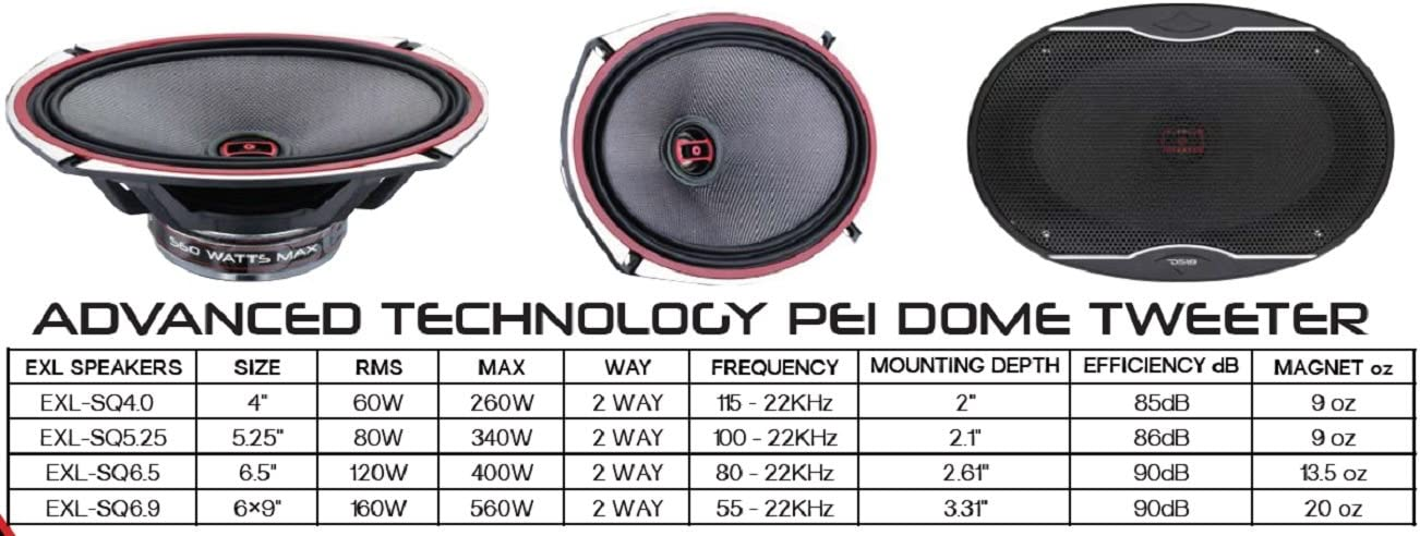 DS18 EXL-SQ6.9 6 x 9 Inches 3-Ohm High Sound Quality Speaker 560 Watts Set of 2