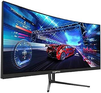 Sceptre C355W-3440UN monitor de juegos curvado UltraWide 21: 9 LED QHD 3440x1440 sin marco AMD Freesync HDMI DisplayPort hasta 100Hz, máquina negra 2020: Amazon.es: Electrónica