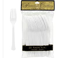 Premium Heavy Weight Plastic Forks | Frosty White | Pack of 20 | Party Supply