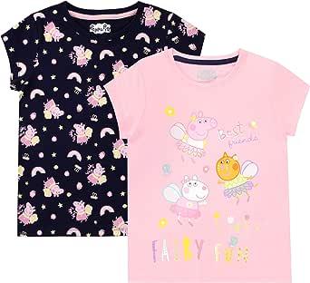 Peppa Pig Camiseta de Manga Corta Paquete de 2 para niñas
