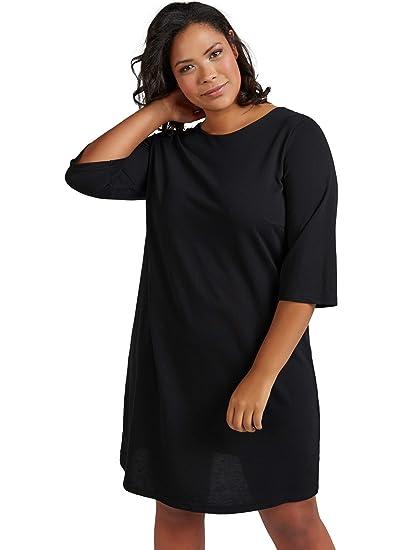 5125455e9e5cc0 Zizzi Damen Knielang Kleid mit 3/4 Arm Rundhals Alltagskleid, Große Größen  42-