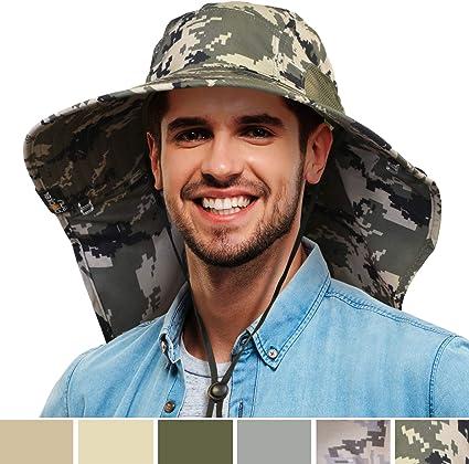 Men/'s Outdoor Sport Camping Hiking Fishing Wide Brim Sun Visor Hat Camo Sun Cap