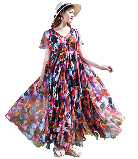 Medeshe Floral Print Graceful Chiffon Prom Dress With Sleeves (colorful, UK 6-18
