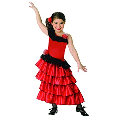 Child's Red and Black Spanish Princess Costume, Small: Toys & Games