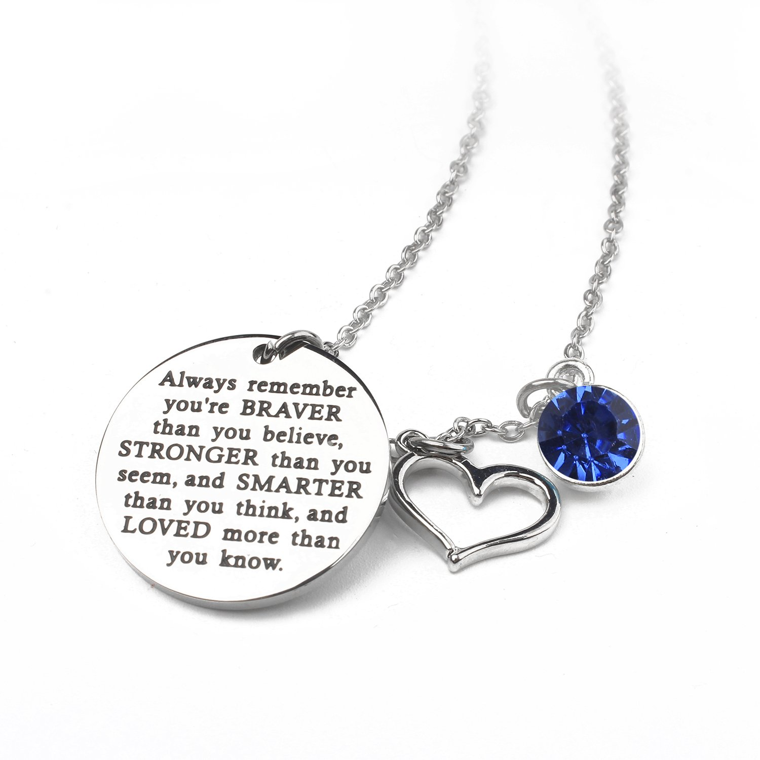 Zaoming You Are Braver Than You Believe Inspirational Necklace With Birthstone Graduation Gift Best Friend Encouragement Gifts Birthday Gift (09-September Sapphire)