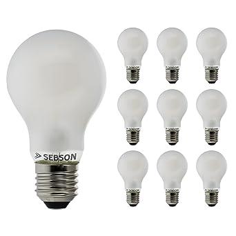 Sebson 10x RA95 + Flicker Free, E27 Bombilla LED 8W, Calido ...