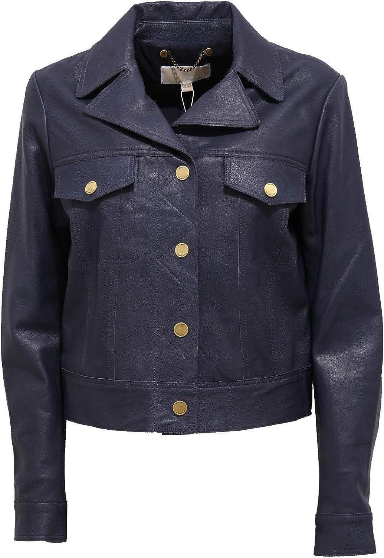 Michael Kors 7769J Giubbotto Donna Blue Navy Vintage Effect Leather Jacket Woman
