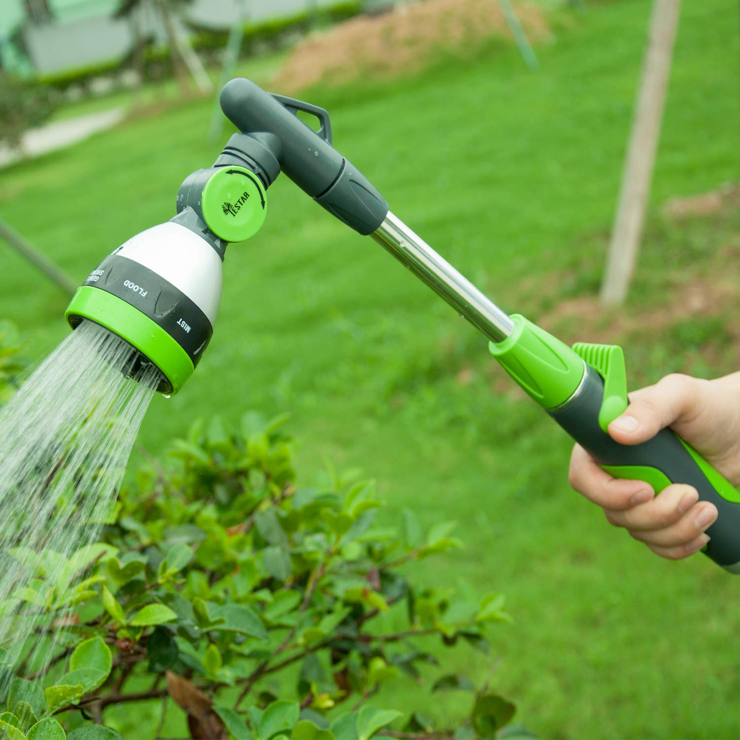 YeStar Watering Wand, 19 inch 2-in-1 Garden Lawn Hose Nozzle Spray Wand with 7 Adjustable High Pressure Water Patterns, One Touch Shutoff Valve, Green