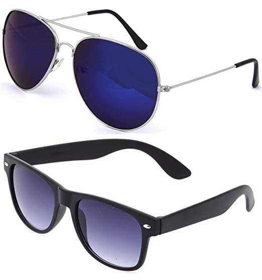 e84d84434f4 SHEOMY SUNGLASSES COMBO - SILVER BLUE MERCURY AVIATOR SUNGLASSES AND  WAYFARER BLUE BLACK SUNGLASSES WITH 2 BOXES Best Online Gifts  Amazon.in   Clothing   ...