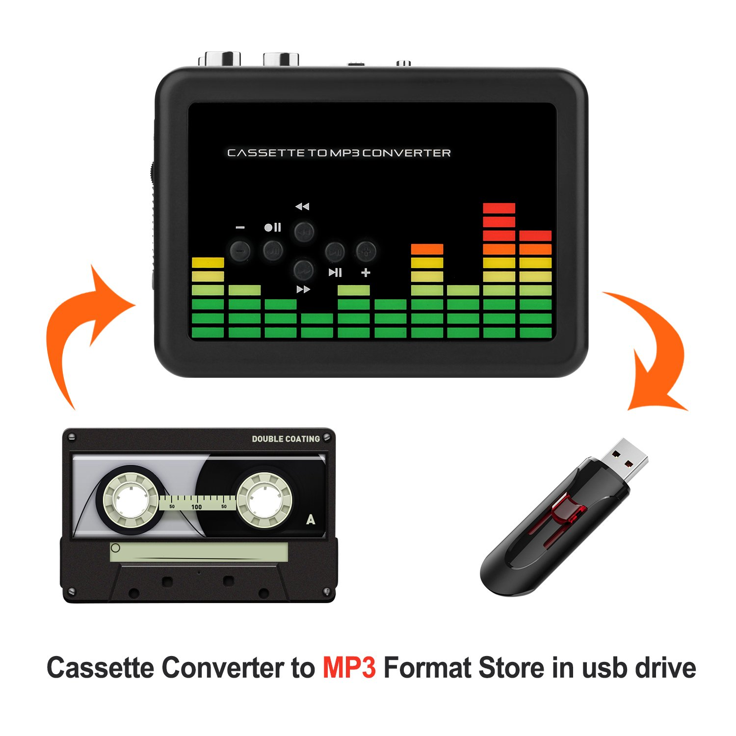 No Need Computer Portable Cassette Tape Player to MP3 Converter Retro Walkman Auto Reverse Audio USB Tape Player with Earphones