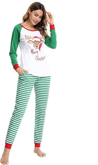 Doaraha Pijamas de Navidad Familia Manga Larga Pijamas 2 Piezas Ropa de Dormir Pantalon de Rayas y Top de Reno Pijamas para Mujer Hombre Niños Niñas