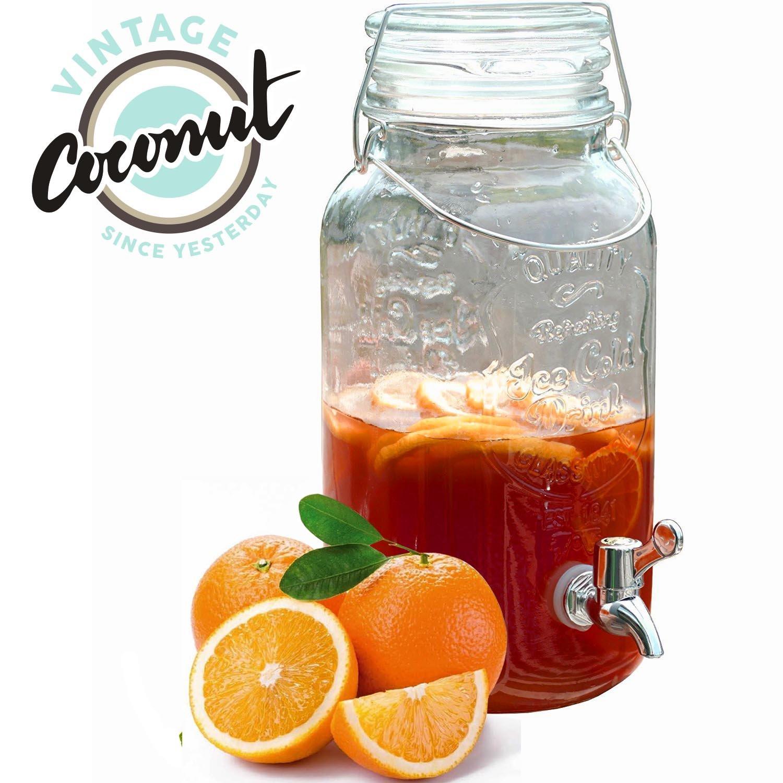 Dispensador de Bebidas de Cristal Ice Cold Drink Vintage Coconut: Amazon.es: Hogar