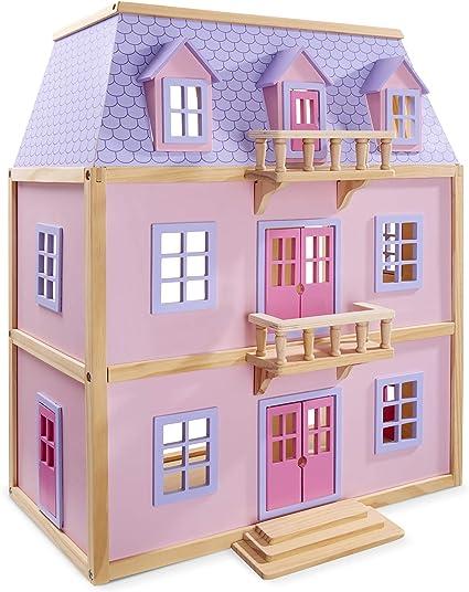 Amazon Com Melissa Doug Multi Level Wooden Dollhouse With 19 Pcs Furniture Melissa Doug 4570 Toys Games