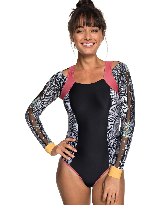 Roxy Junior's Pop Surf Long Sleeve Onesie Swimsuit, Marshmallow Pop Surf Stars SMA, M