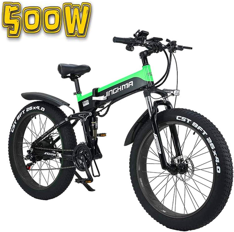 Alta velocidad Bicicleta eléctrica plegable, de 26 pulgadas 4.0 Fat Tire motos de nieve, 48V500W suave cola de la bicicleta, 13Ah Batería de litio for una larga vida de 100 kilometros, pantalla LCD /