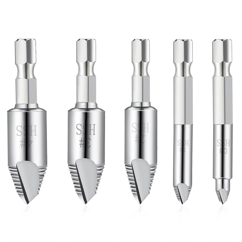 ZWOOS Coffret de 5pcs Extracteurs de Vis Endommagé es , H.S.S. 4241 # Removed Screw Removers