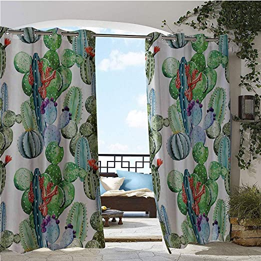 GUUVOR Cortina de privacidad para exteriores, para pergola, cactus, picos de flores, con pájaros, estilo vintage, como arte de color, con aislamiento térmico, repelente al agua, para balcón, verde y azul: Amazon.es: