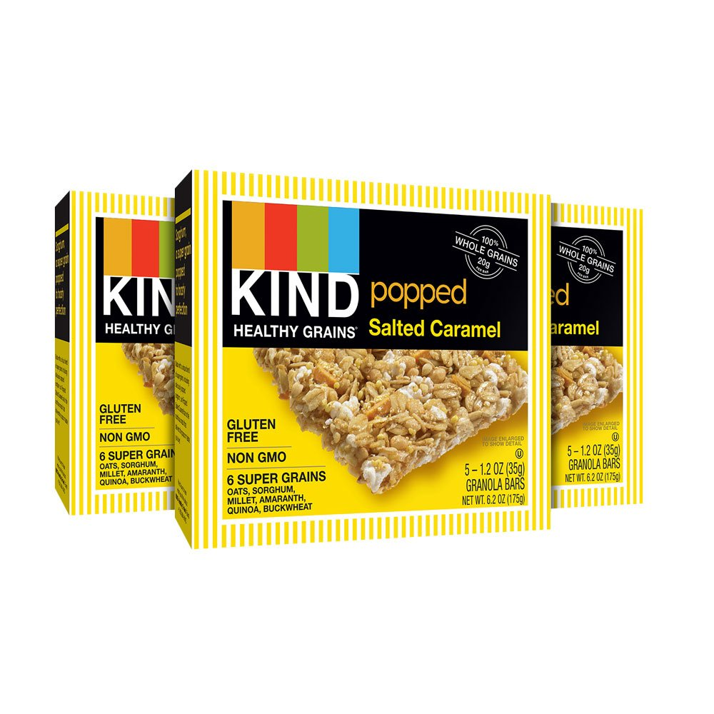 KIND Healthy Grains Bars, Popped Salted Caramel, Non GMO, Gluten Free, 1.2 oz, 15 Count