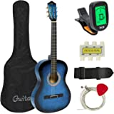 Best Choice Products 38in Beginner Acoustic Guitar Bundle Kit w/ Case, Strap, Digital E-Tuner, Pick, Pitch Pipe, Strings - Blue