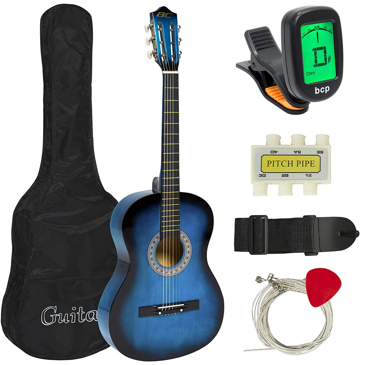Best Choice Products New Beginners Acoustic Guitar with Guitar Case, Strap, Tuner and Pick Pink SKY587