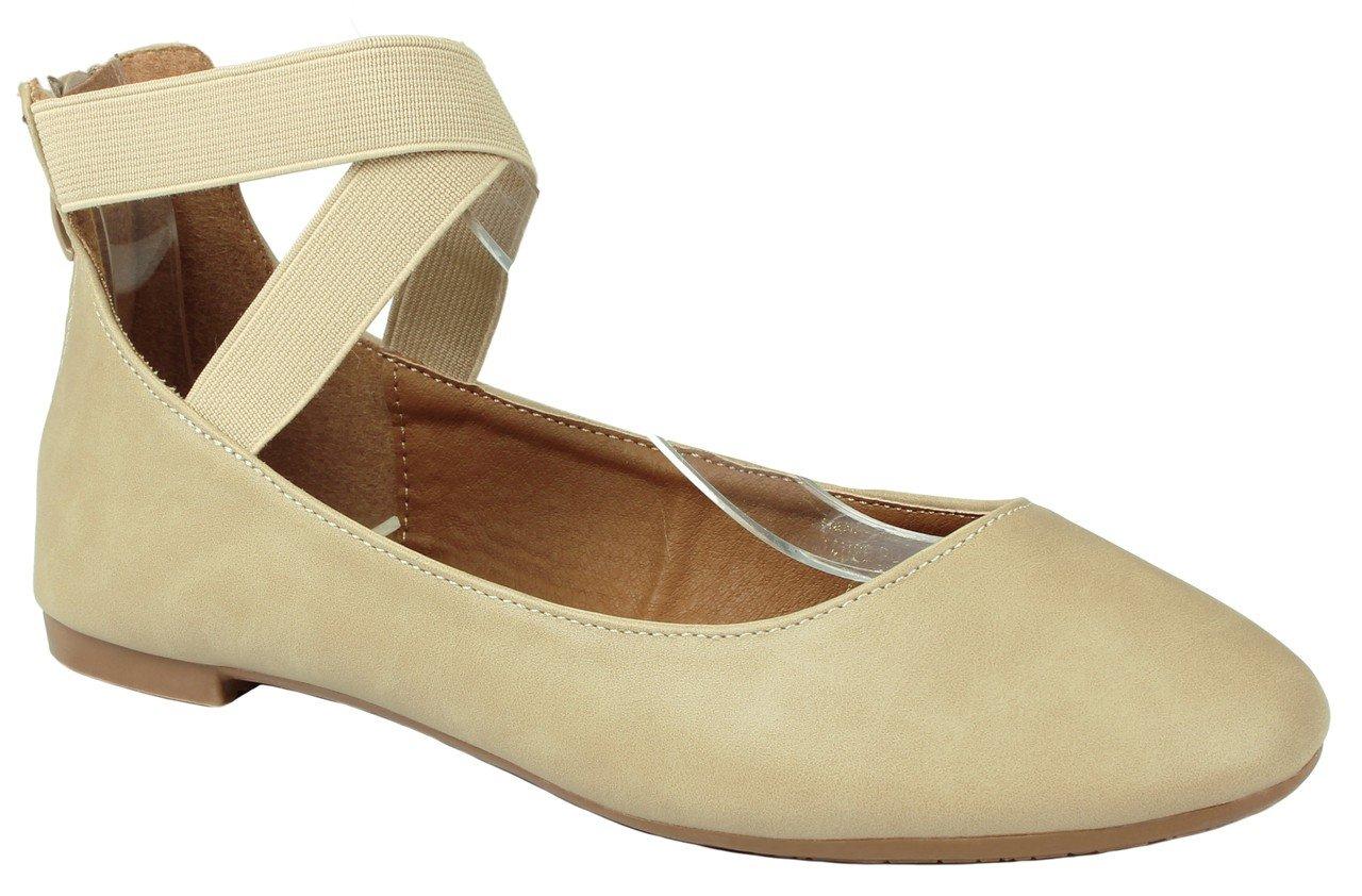 JJF Shoes Women Criss Cross Elastic Strap Round Toe Back Dress Zip Comfort Loafer Ballet Dress Back Flats B01LQWL1EY 7.5 B(M) US|Taupe PU_19 eb5446