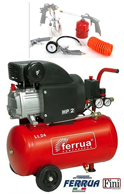 Compresor Aire finas Ferrua RC2/24 24 L lubrificato 2 HP + Kit Accesorios