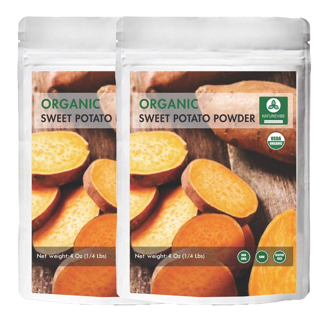 Naturevibe Botanicals Organic Sweet Potato Powder (8oz) (Pack of 2) Ipomoea batatas | Non-GMO and Gluten Free | Supports Digestion and Weight Loss