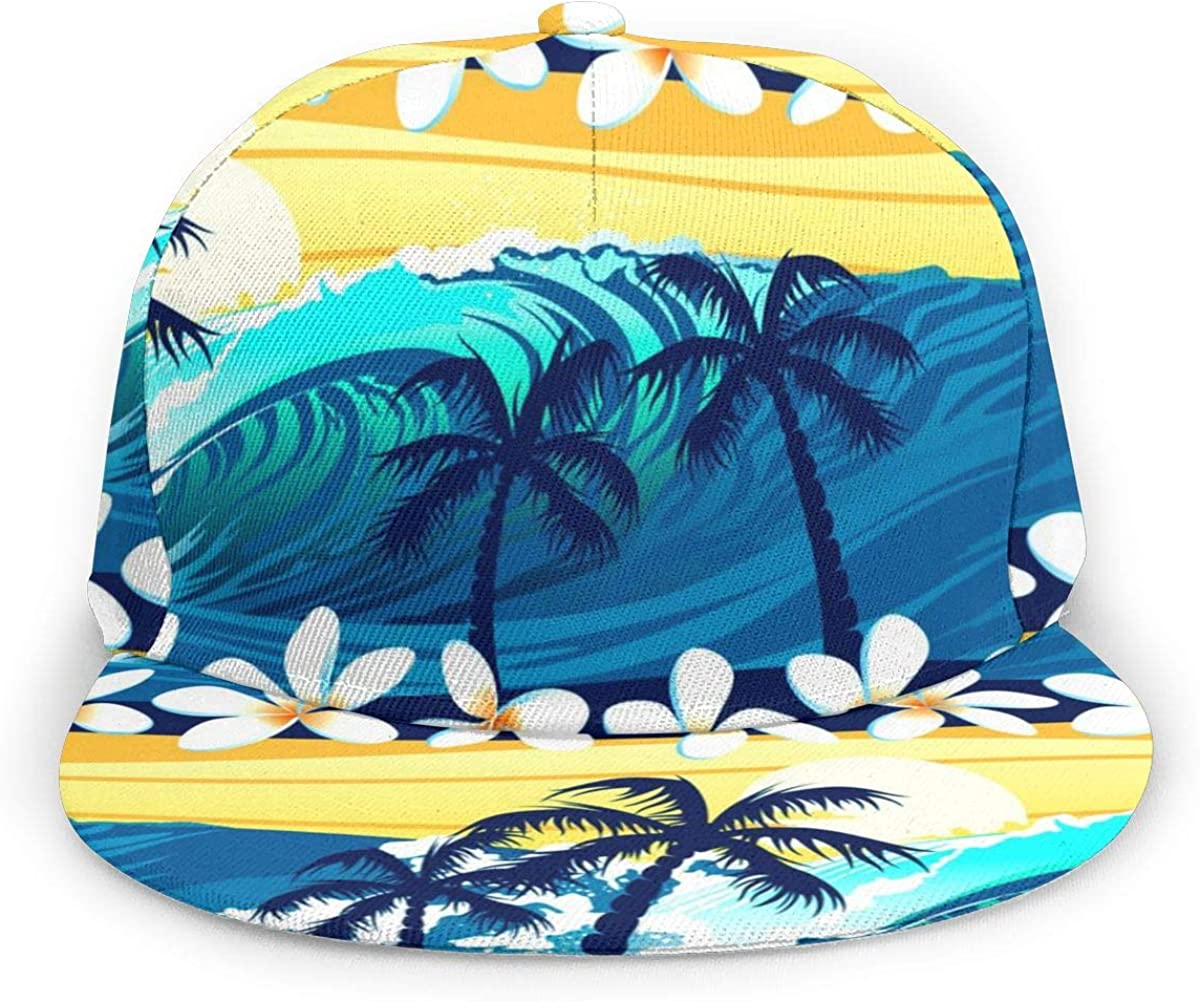 Kunming~ Tropical-surfing-with-palm-trees-seamless-pattern-vector-5134575 Womens Washed Denim Cotton Baseball Cap Sport Outdoor Adjustable Hats