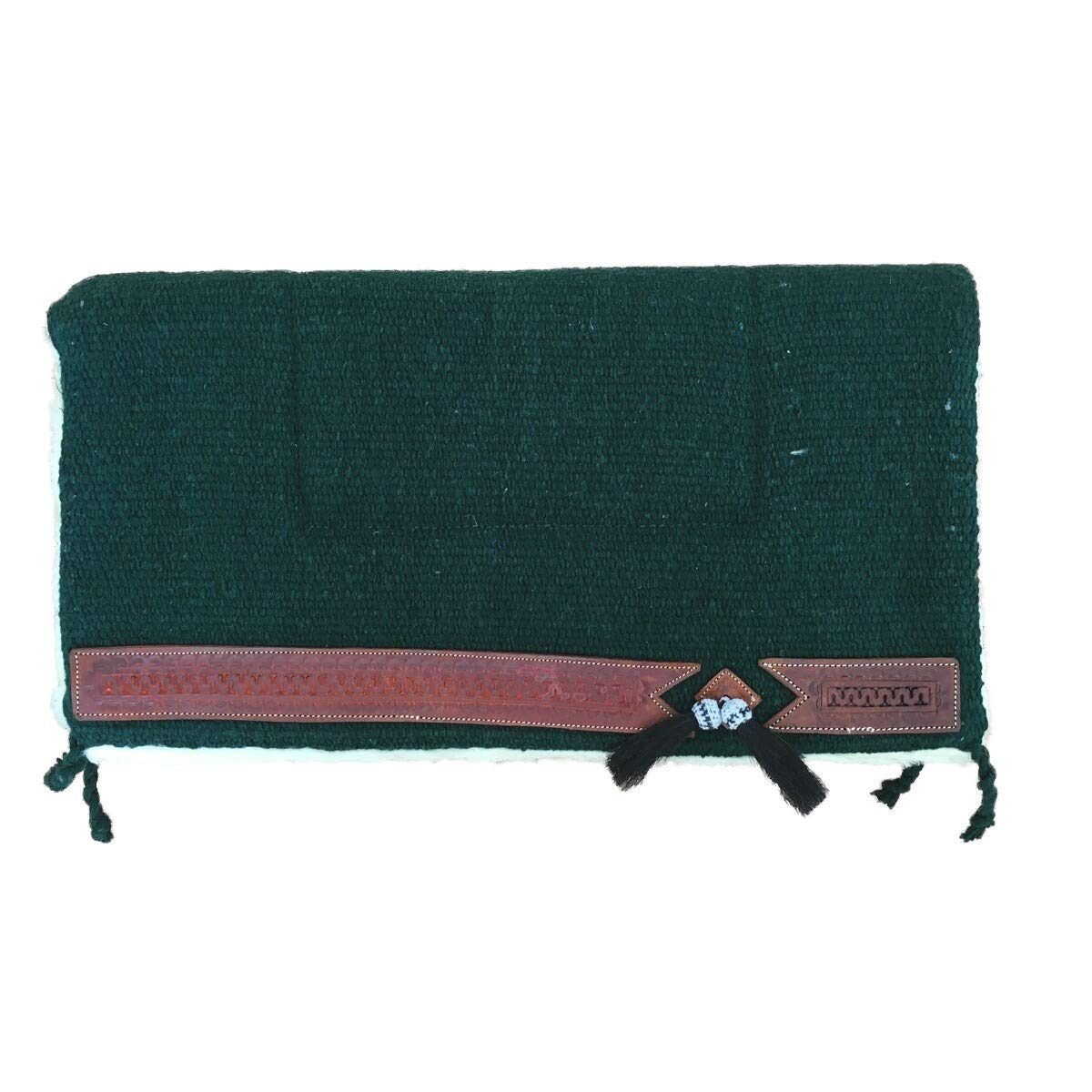 Western Saddle Pad with soft weaved fur with leather decoration size Full, Colour:bordeaux