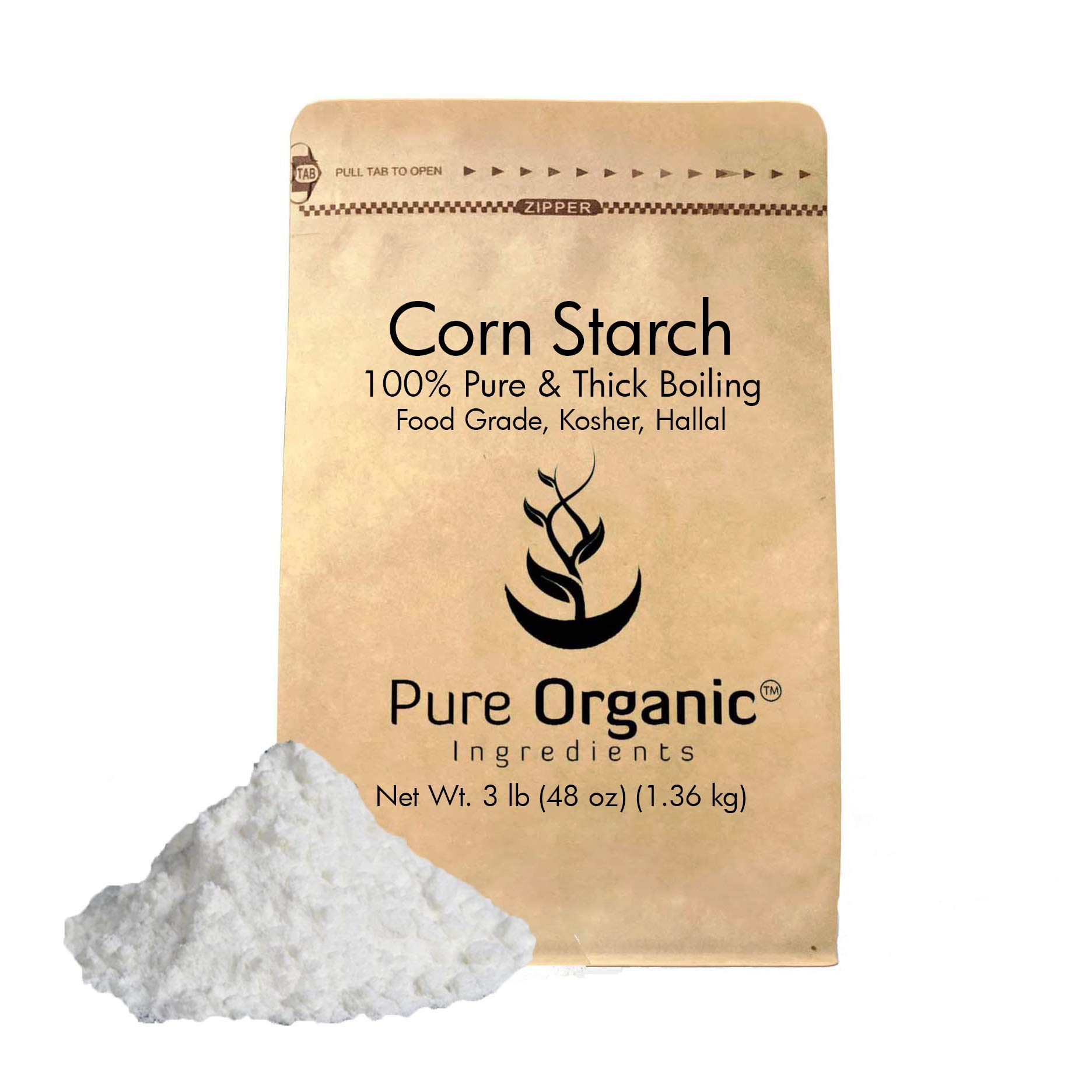Pure Organic Ingredients Corn Starch, (3 lb (48 oz)) Thickener For Sauces Soup, & Gravy, Highest Quality, Kosher, USP & Food Grade, Vegan, Gluten Free (Also available in 4 oz, 8 oz, 1 lb, & 2 lb)