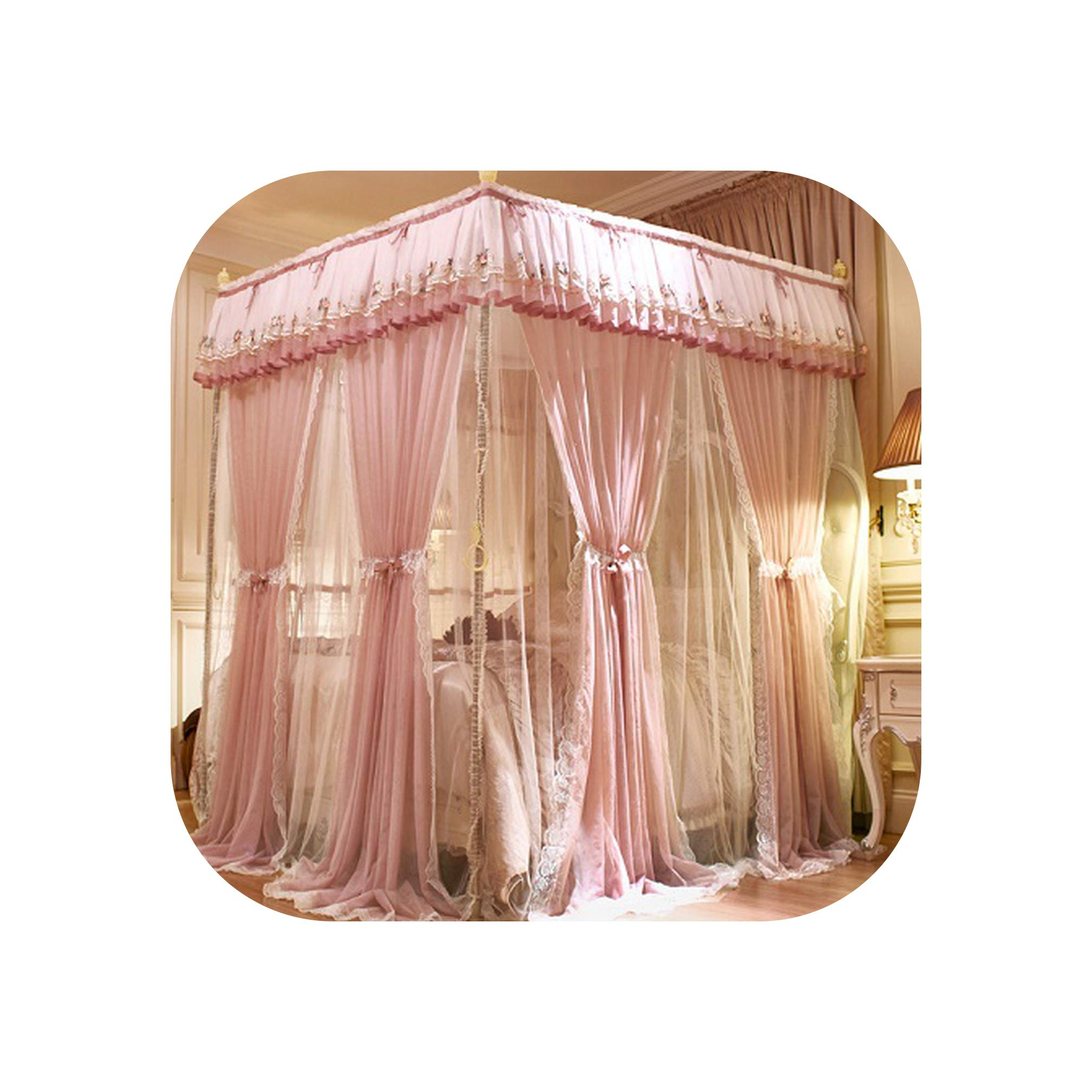 Pink Gray Green Double Deck Romantic White Lace Three Door Quadrate Floor Standing Mosquito Net Bedding Set,2,A 150X200cm by SuWuan mosquito net (Image #1)