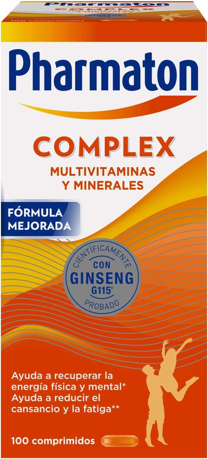 Pharmaton Complex, Multivitamínico Con Ginseng, Comprimidos Compactos, Energía Física Y Mental, Marrón, 100 Unidades