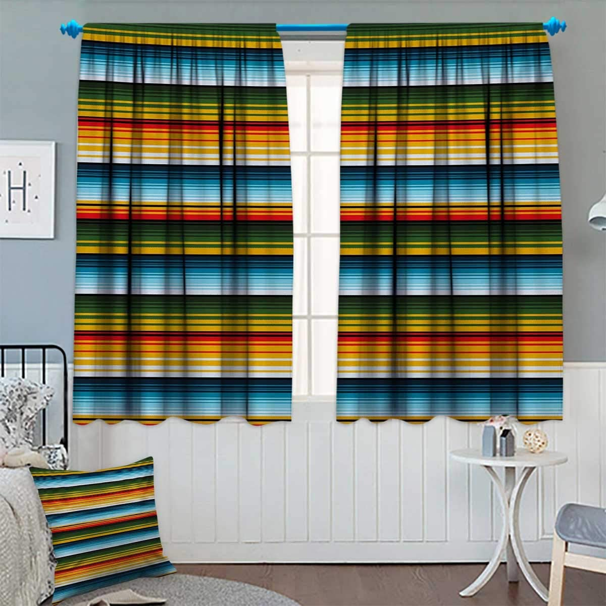 Chaneyhouse Striped Room Darkening Curtains Mexican Inspirations in Hand Made Horizontal Lines with Woven Ornamental Style Customized Curtains 72 W x 84 L Multicolor