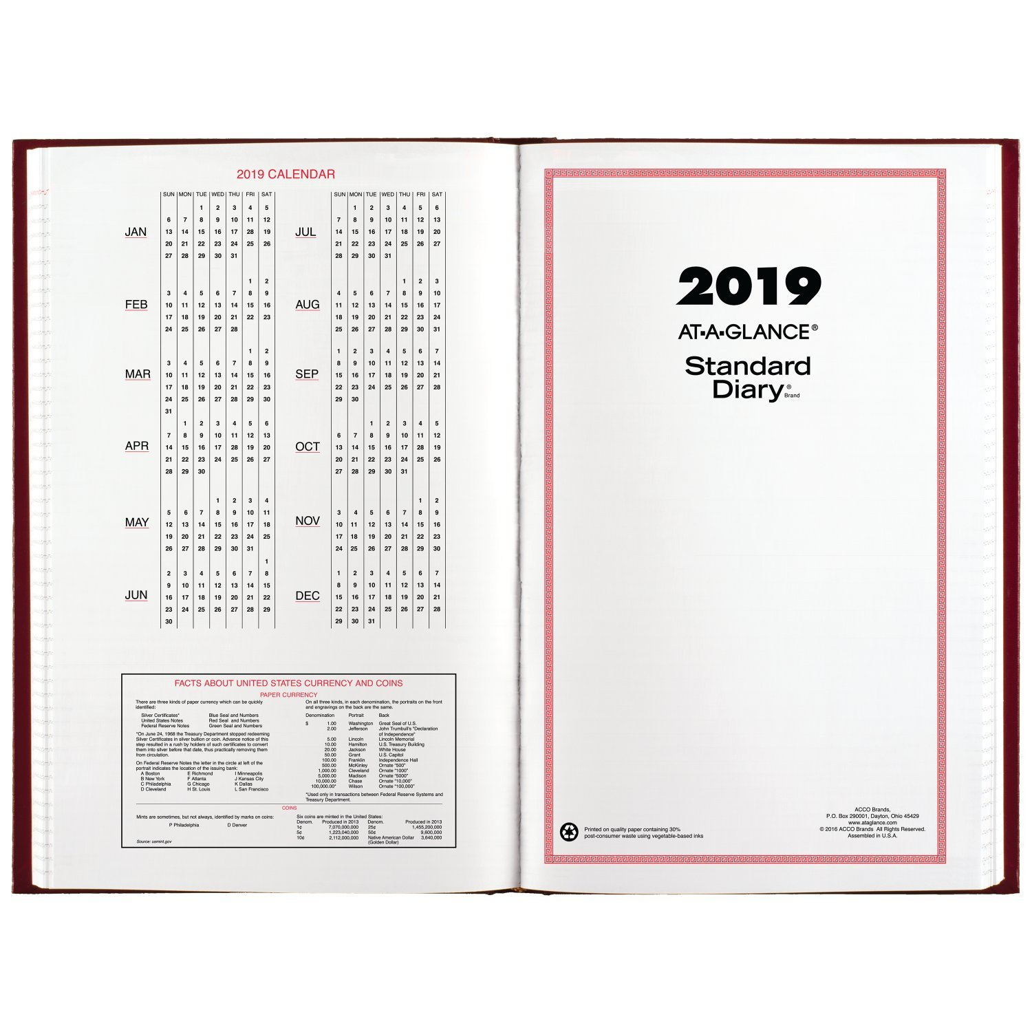 AT-A-GLANCE 2019 Daily Diary, January - December, 8-3/16'' x 13-7/16'', Standard, Red (SD38179) by AT-A-GLANCE (Image #5)