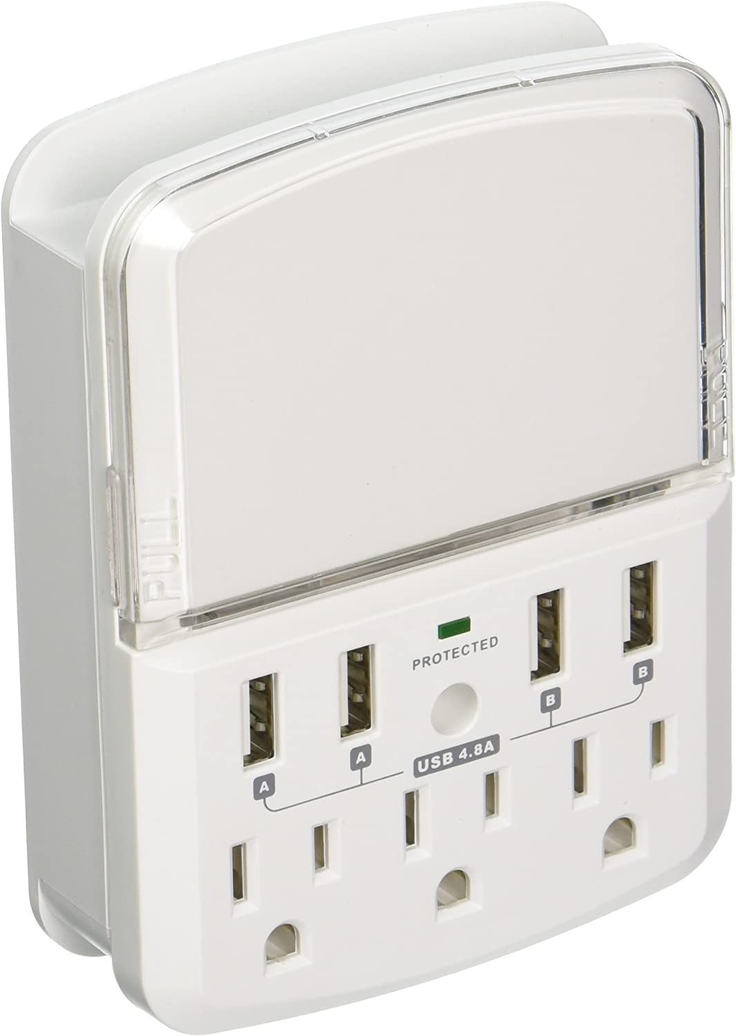Rnd Wall Power Station Includes 3 AC Plugs and 4 USB Ports (4.8A Total) with Surge Protection and Slide-Out Holder for iPhone, Ipad, Samsung Galaxy, LG, HTC, Moto and All USB Compatible Devices