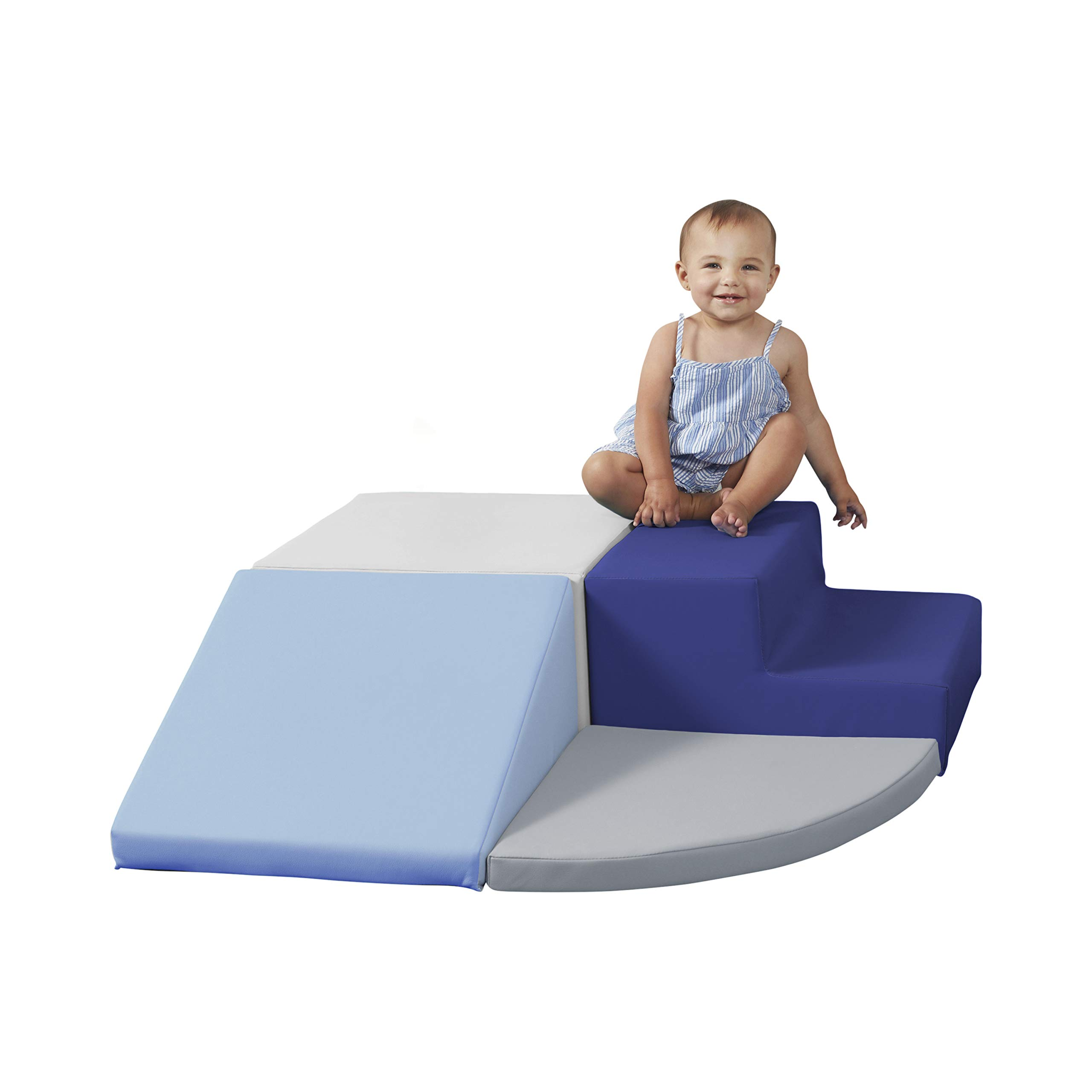 SoftScape Toddler Playtime Corner Climber, Indoor Active Play Structure for Toddlers and Kids, Safe Soft Foam for Crawling and Sliding (3-Piece Set) - Navy/Powder Blue by Factory Direct Partners