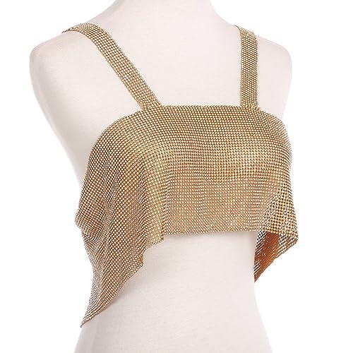 740b685b25ab0 Amazon.com  Wintefei Sparkly Rhinestone Vest Women Backless Night Club  Party Sexy Crop Top Clubwear - Golden  Jewelry