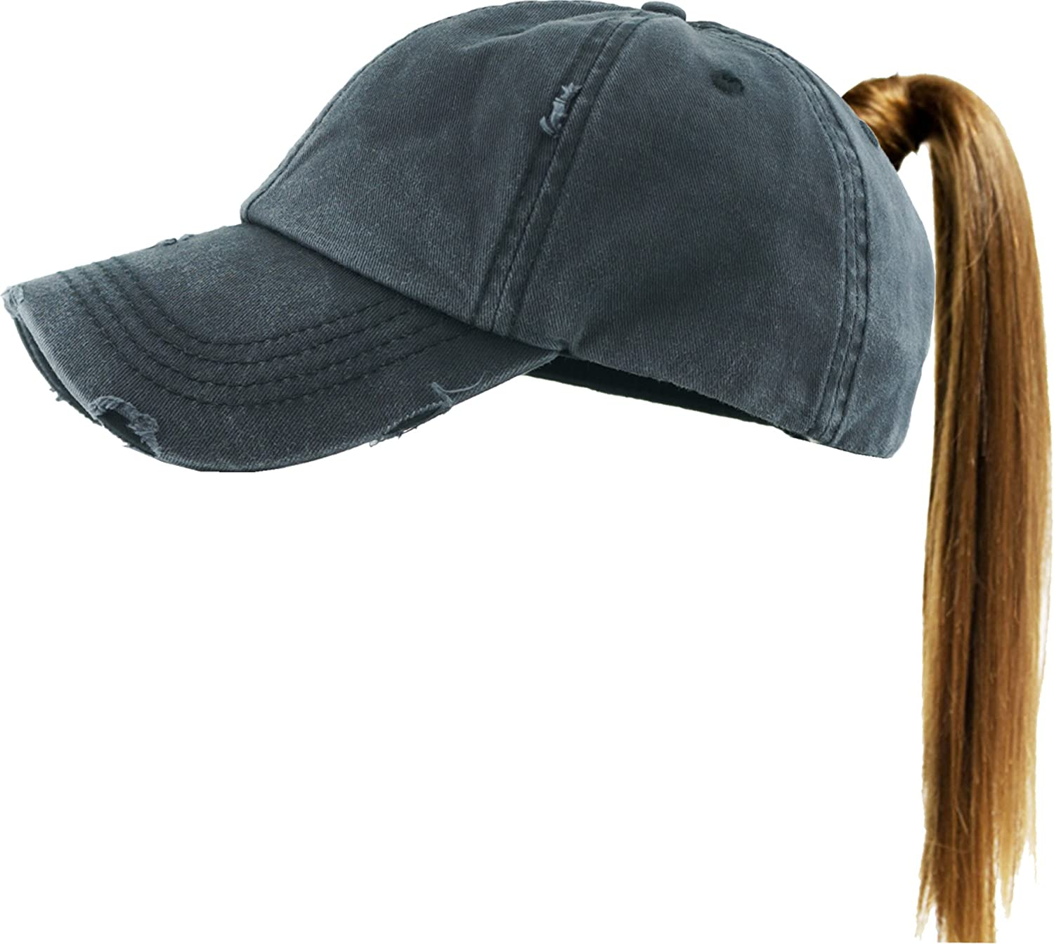 KBETHOS Ponytail Messy High Bun Hat Ponycaps Adjustable Cotton Mesh Trucker Baseball Cap PONY-001 BLK