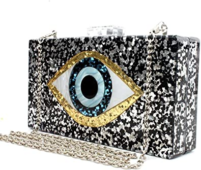 EROUGE Glitter Purse Perspex Bag Handbags for Women Silver Acrylic Clutch Bags