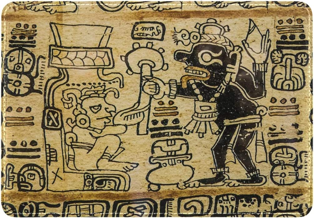 LEISISI Aztec Art Genuine Real Leather Passport Holder Cover Travel Case