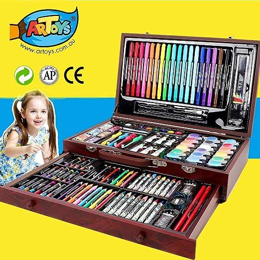 ARTOYS Set de Pintura Niños,123 Piezas Caja de Madera con Set ...