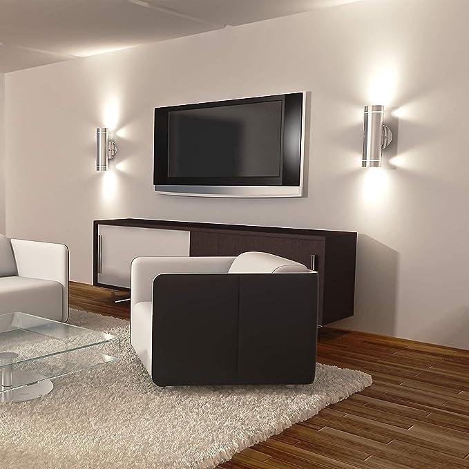 Artika C7 - Lámpara de pared vertical de acero inoxidable para interiores y exteriores (3 vías): Amazon.es: Iluminación